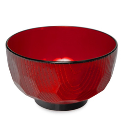 15520  miyamoto sangyo plastic lacquered wood effect miso soup bowl   red  tortoise shell pattern
