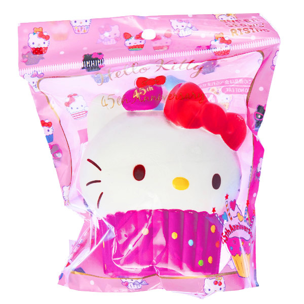 15569  sanrio hello kitty 45th anniversary cupcake shaped stress ball squishie   pink   pink   bag %282%29