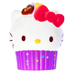 15570  sanrio hello kitty 45th anniversary cupcake shaped stress ball squishie   purple   brown
