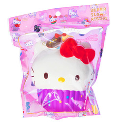 15570  sanrio hello kitty 45th anniversary cupcake shaped stress ball squishie   purple   brown   bag