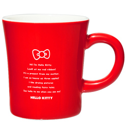 15572  sanrio hello kitty kanesho ceramic mug  red  white text   reverse