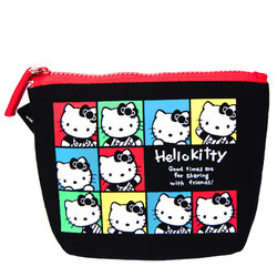 15573  sanrio hello kitty 45th anniversary pouch with zipper  colourful portraits pattern
