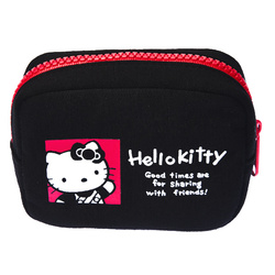 15574  sanrio hello kitty 45th anniversary mini multi pouch with zipper  colourful portraits pattern   reverse