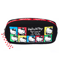 15575  sanrio hello kitty 45th anniversary clutch pouch with zipper  colourful portraits pattern