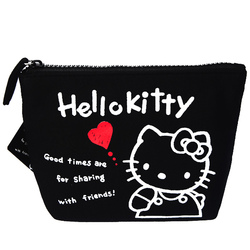 15576  sanrio hello kitty 45th anniversary pouch with zipper  black checkered pattern   reverse