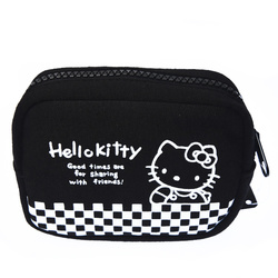 15577  sanrio hello kitty 45th anniversary mini multi pouch with zipper  black checkered pattern
