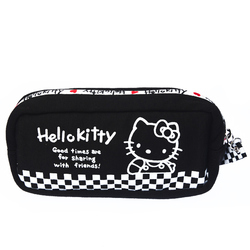 15578  sanrio hello kitty 45th anniversary clutch pouch with zipper  black checkered pattern