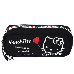 15578  sanrio hello kitty 45th anniversary clutch pouch with zipper  black checkered pattern   reverse