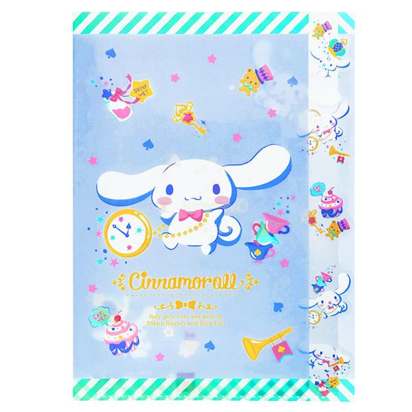 15654  sanrio cinnamoroll multi divider a4 clear file protector   indigo tea party