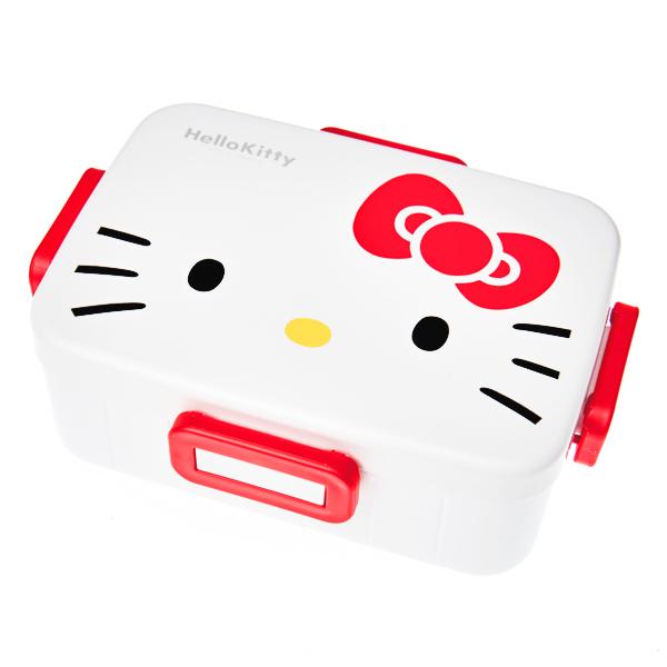 15656  sanrio hello kitty bento lunch box with clips   hello kitty face  white