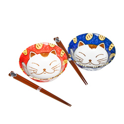 15660  yamata seiho ceramic his and her rice bowl set with chopsticks   cat pattern  blue   red