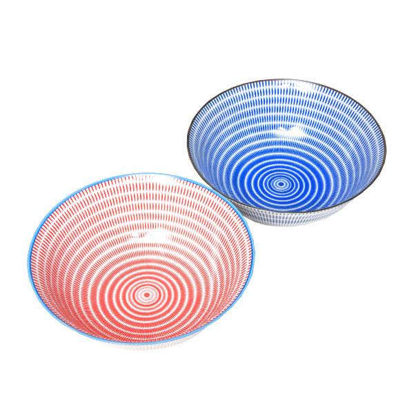 15661  yamata seiho ceramic his and her ramen bowl set   stripe pattern  blue   red