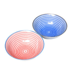 15661  yamata seiho ceramic his and her ramen bowl set   stripe pattern  blue   red