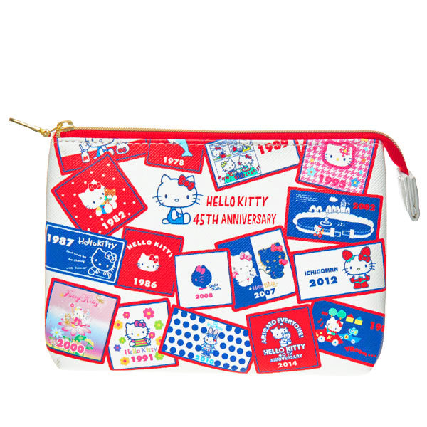 15668  sanrio hello kitty 45th anniversary double chambered pouch   kitty through the years
