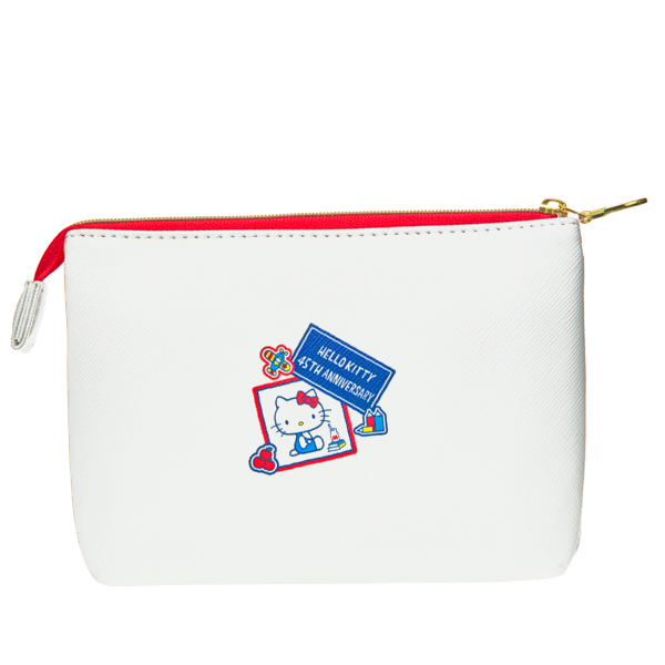 15668  sanrio hello kitty 45th anniversary double chambered pouch   kitty through the years   reverse