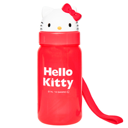 15670  sanrio hello kitty plastic water bottle with straw