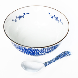 15707  yamata seiho ceramic noodle bowl and renge set   white  blue foliage pattern