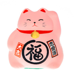 15719  feng shui lucky cat coin bank   pink