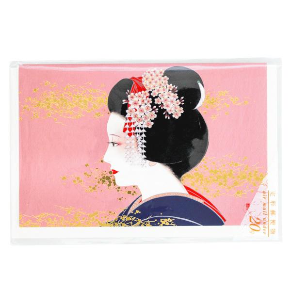 15729  hyogensha japanese geisha greeting card   gold embossing  pink background