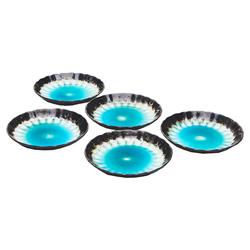 15765  ceramic serving plate set   sky blue with woven texture  large