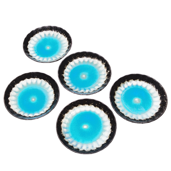 15765  ceramic serving plate set   sky blue with woven texture  large   top view