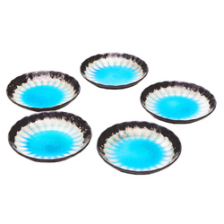 15763  ceramic serving plate set   sky blue with woven texture  small