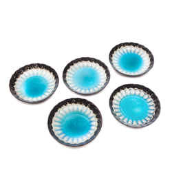 15763  ceramic serving plate set   sky blue with woven texture  small   from above