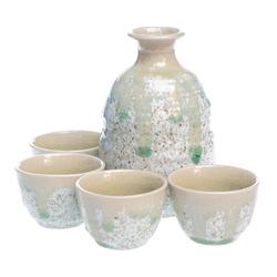 15756  ceramic sake set   gray and green  speckled pattern