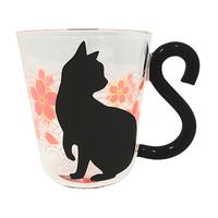 Artha Heatproof Glass Cat Mug - Pink Cherry Blossom Design