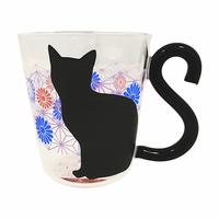 Artha Heatproof Glass Cat Mug - Blue Chrysanthemum Design