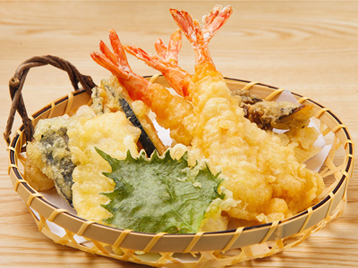 Fried tempura battered prawns