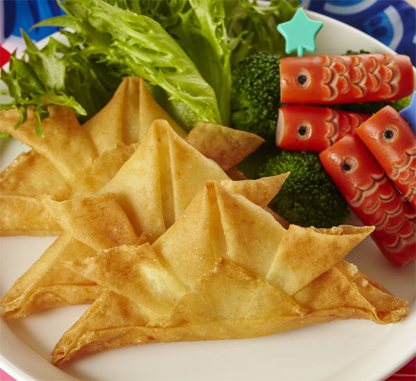 Children's Day Kabuto Helmet Shaped Spring Rolls