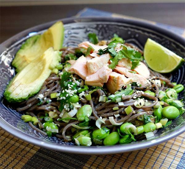 Matcha-Poached Salmon Noodle Bowls