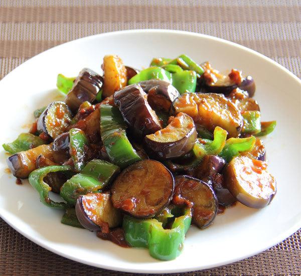 Aubergine and Green Pepper Miso Stir Fry