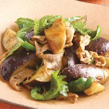 Pork aubergine stir fry