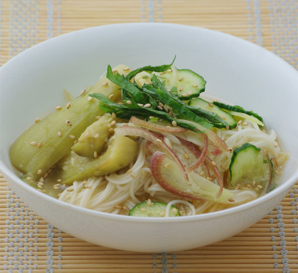 Cold Aubergine Somen Noodles