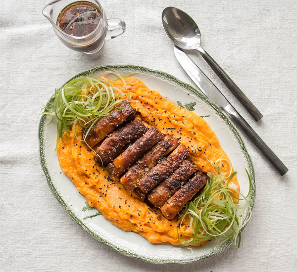 Crispy Slow-Cooked Pork Belly With Pumpkin Mash