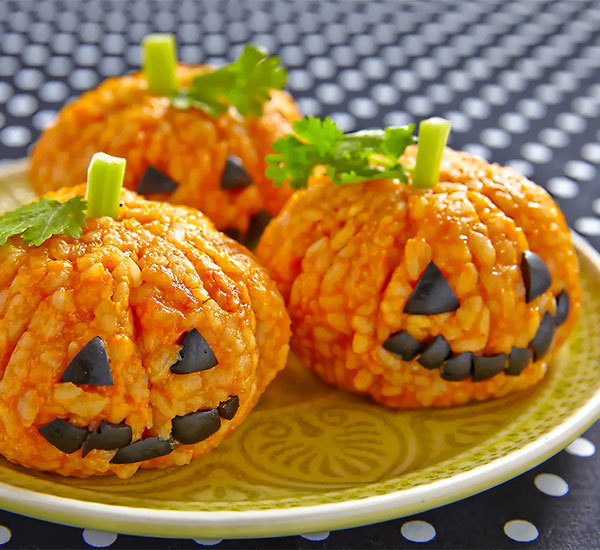 Halloween Jack-o'-lantern Pumpkin Shaped Rice Balls