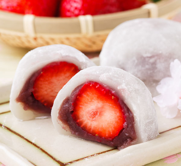 Strawberry And Sweet Red Bean Mochi (Ichigo Daifuku)