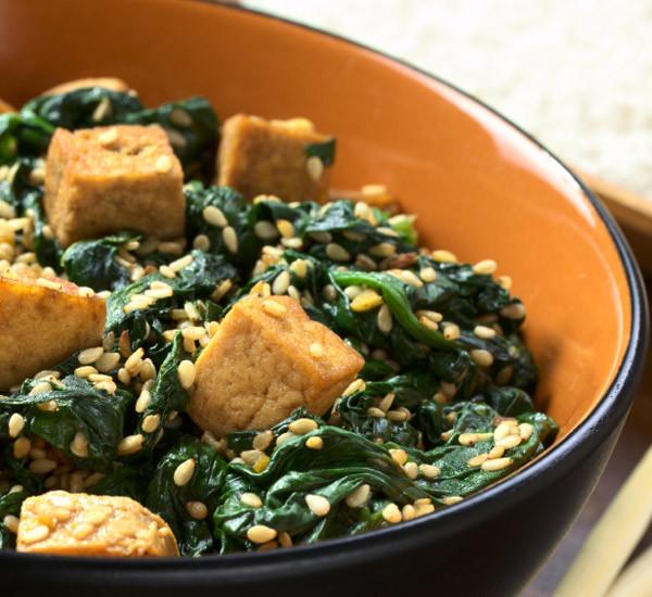 Hitashi Spinach And Abura Age Fried Tofu Stir Fry