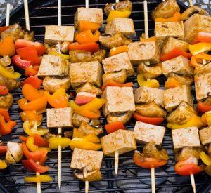 909 teriyaki tofu skewers